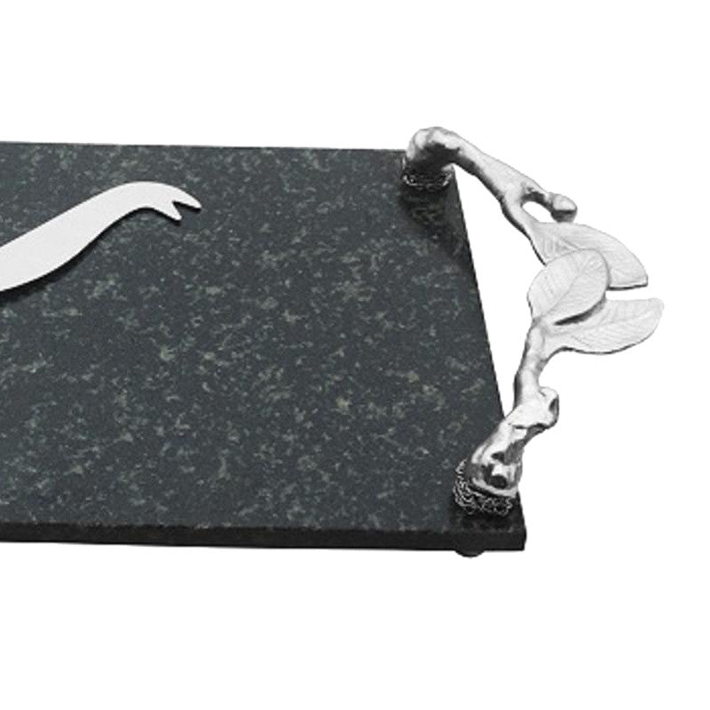 Hallow Leaf Granite And Brass Cheese Platter & Knife