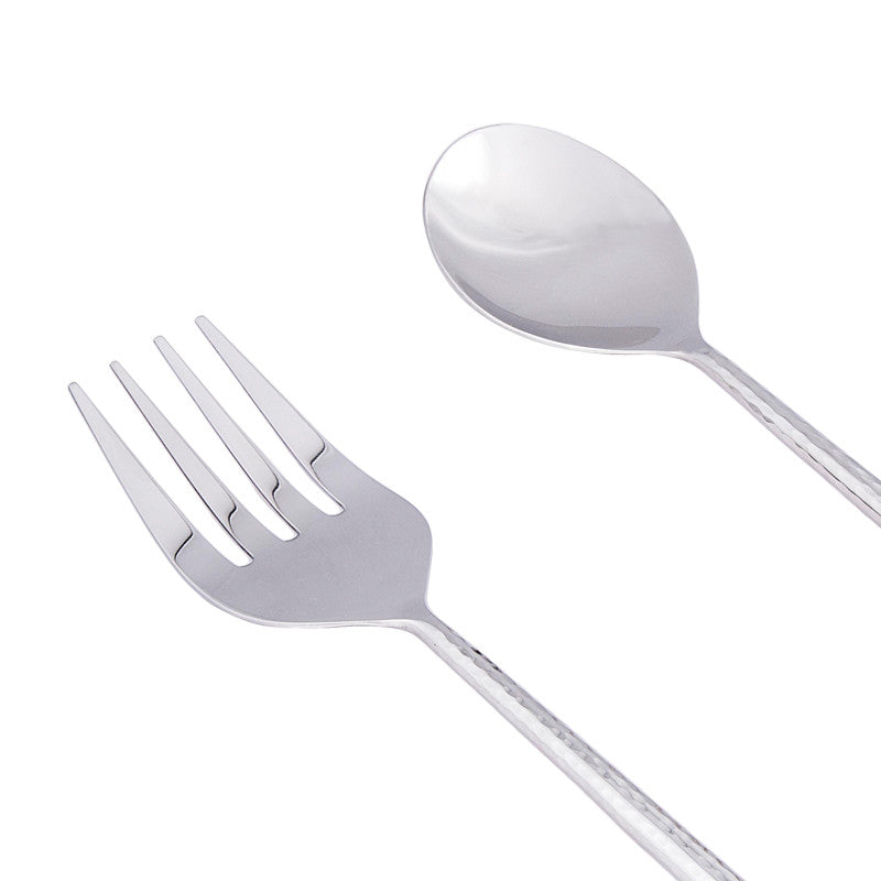 Stainless Steel Hammered Salad Server Set