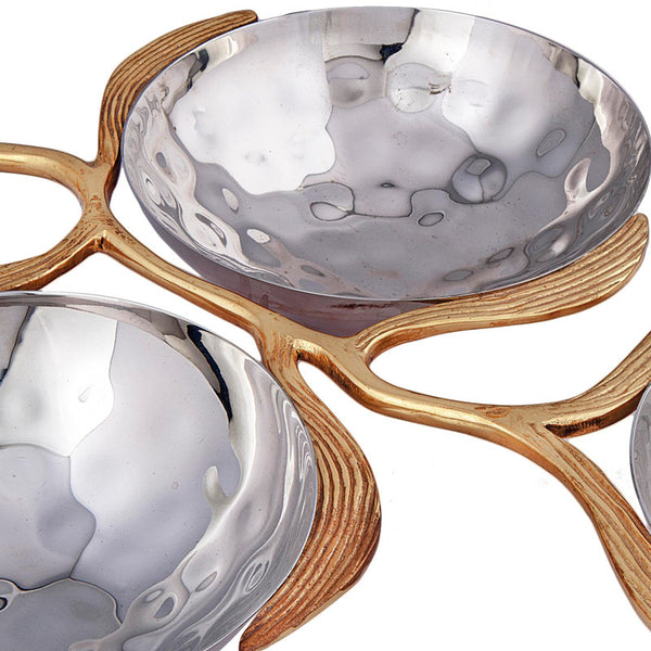 3 Katori Stainless Steel And Brass Bowls