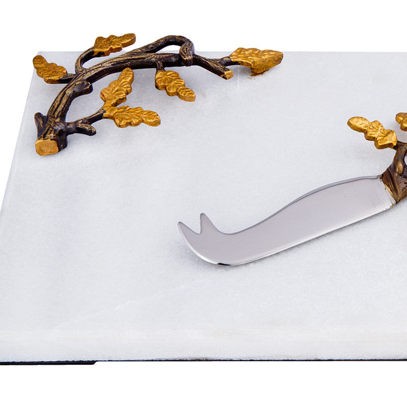 Granite And Brass Branch Cheese Platter & Knife