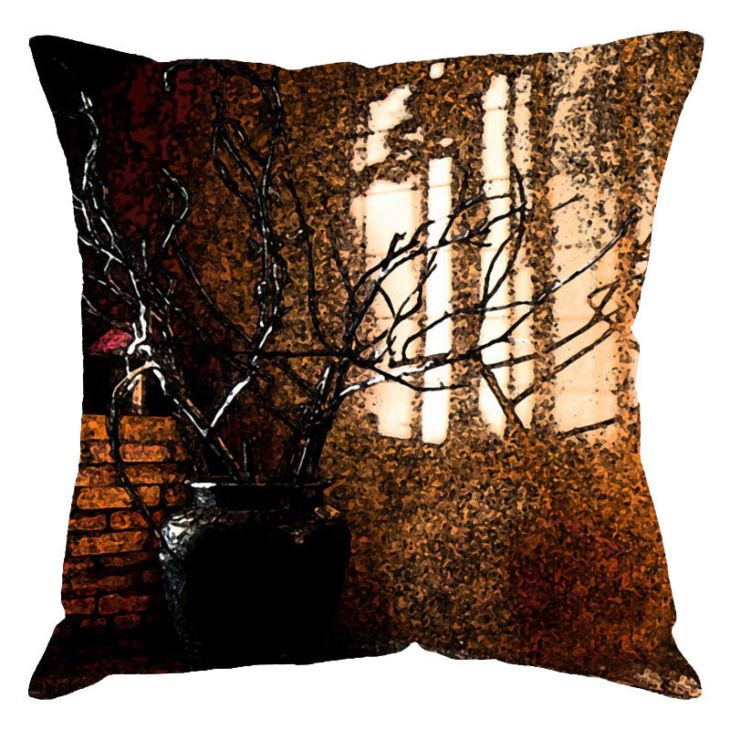 Leaf Designs Brown Digital Print Cushion Cover