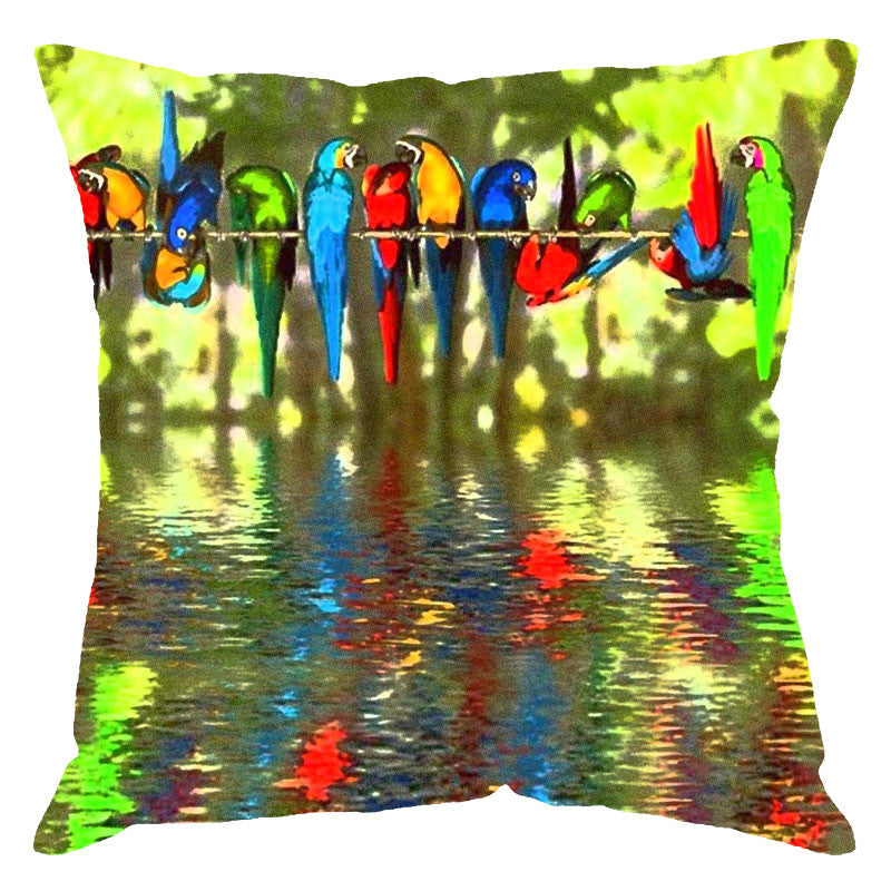 Leaf Designs Parrots Digital Print Cushion Cover
