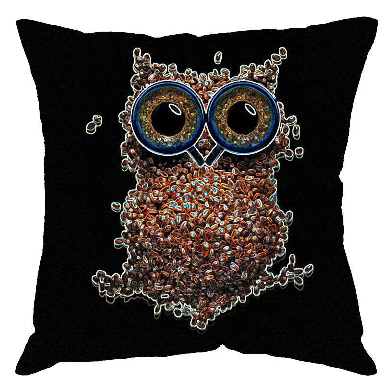 Leaf Designs Owl On Black Digital Print Cushion Cover