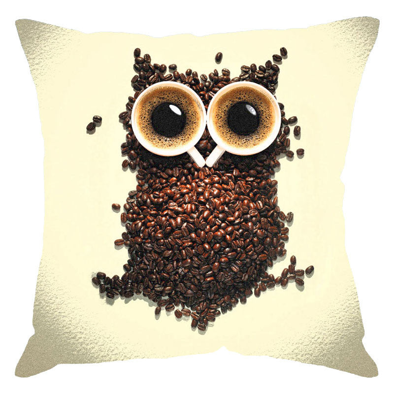 Leaf Designs Owl On Ivory Digital Print Cushion Cover