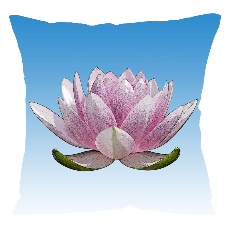 Leaf Designs Pink Lotus Digital Cushion Cover