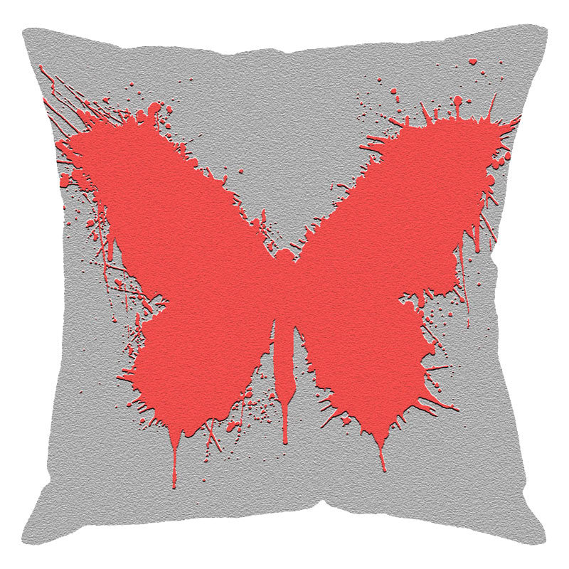 Leaf Designs Peach Butterfly Digital Print Cushion Cover