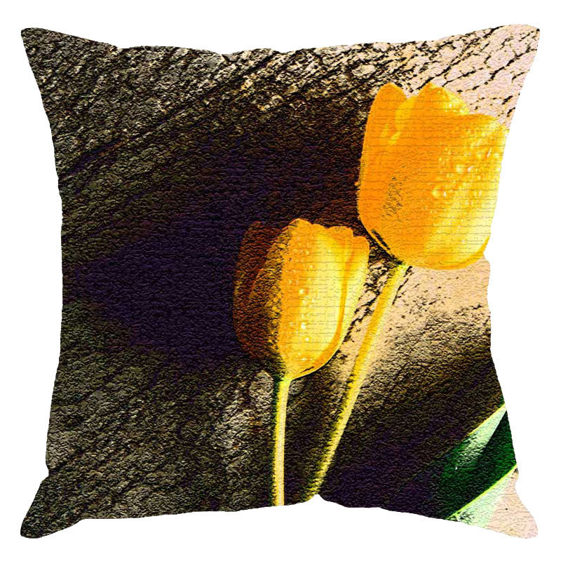 Leaf Designs Yellow Tulip Digital Print Cushion Cover