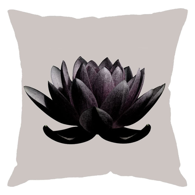 Leaf Designs Grey Lotus Digital Print Cushion Cover