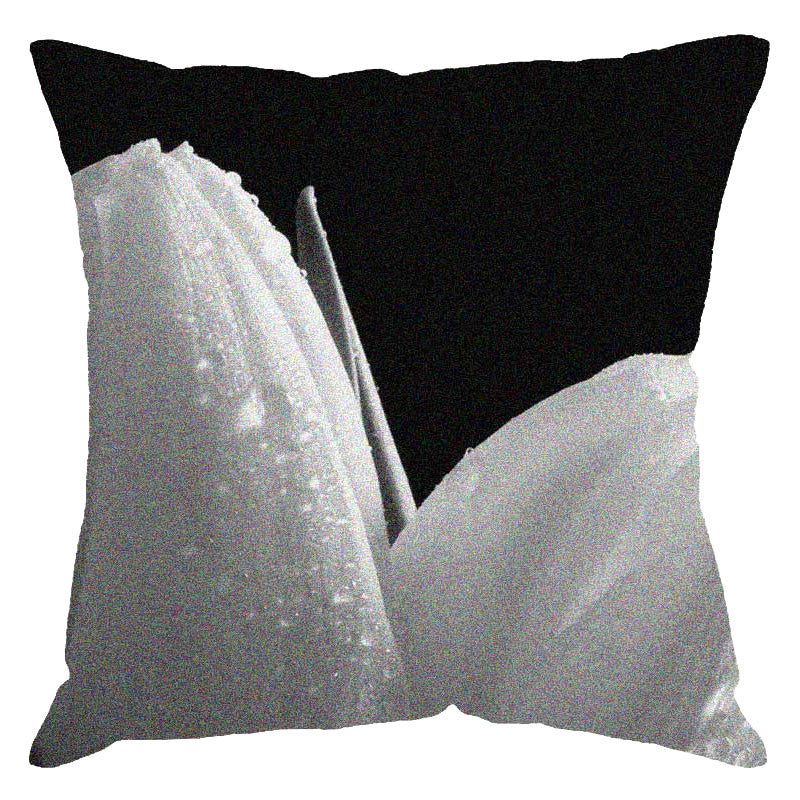 Leaf Designs White Tulip Digital Print Cushion Cover