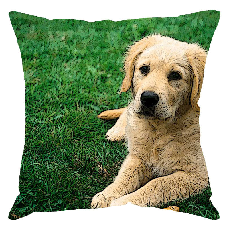 Leaf Designs Retriever Digital Print Cushion Cover