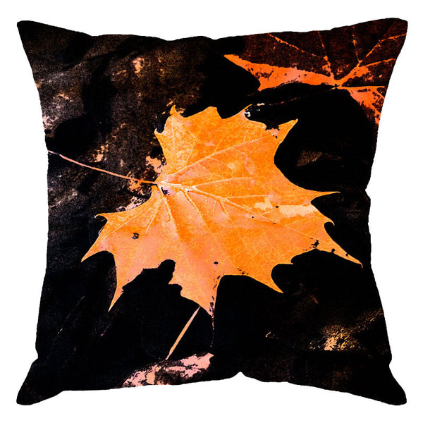 Leaf Designs Orange Maple Leaf Digital Cushion Cover
