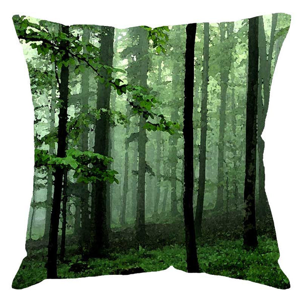 Leaf Designs Green Woods Digital Print Cushion Cover