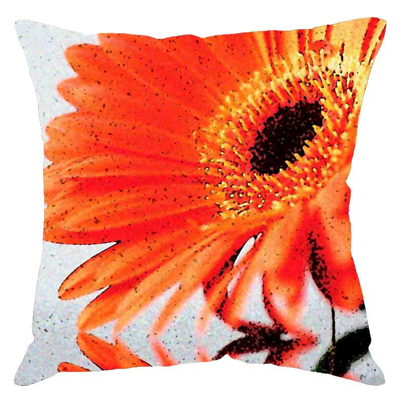 Leaf Designs Orange Floral Digital Cushion Cover