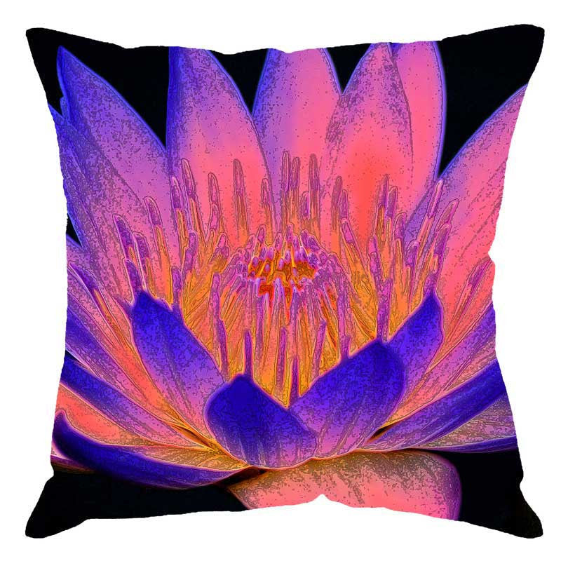 Leaf Designs Multi Colour Hues Floral Digital Print Cushion Cover