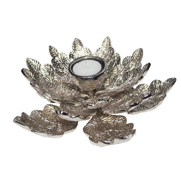 New Leaf Stainless Steel T-Light Holder