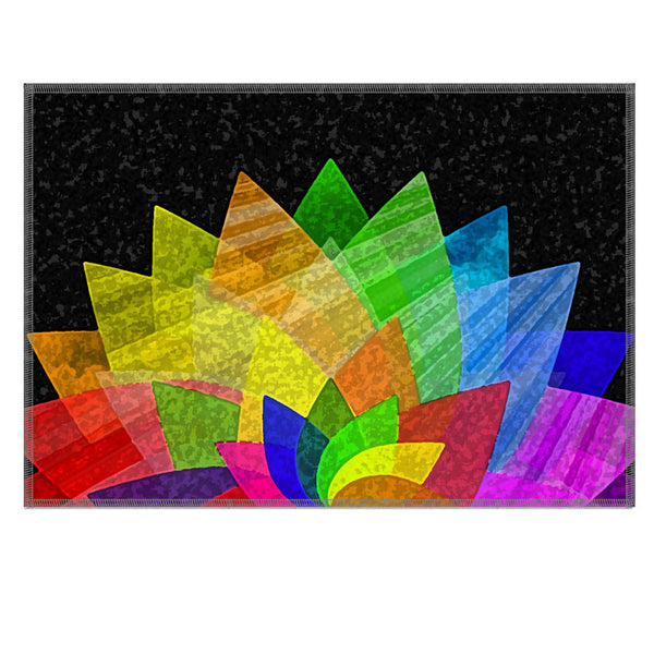 Leaf Designs Multicoloured Lotus On Black Fabric Table Mat - Set of 6