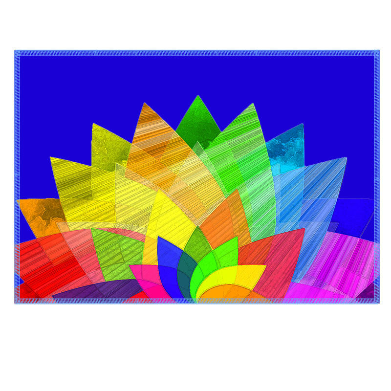 Leaf Designs Multicoloured Lotus On Blue Fabric Table Mat - Set of 6