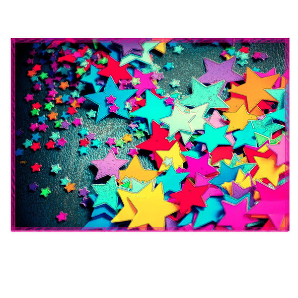 Leaf Designs Multicoloured Stars Fabric Table Mat - Set of 6