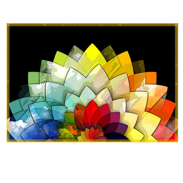 Leaf Designs Multicoloured Textured Lotus Fabric Table Mat - Set of 6