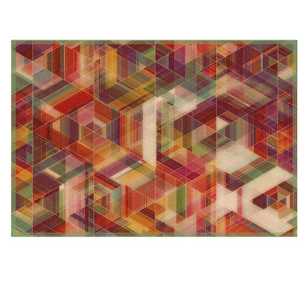 Leaf Designs Multicoloured Checkered Fabric Table Mat (B) - Set of 6