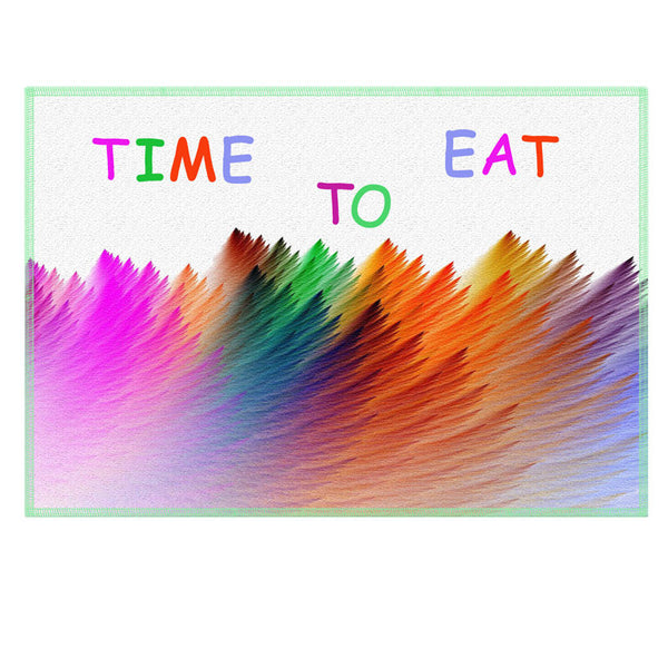 Leaf Designs Multicoloured Time To Eat Fabric Table Mat - Set of 2