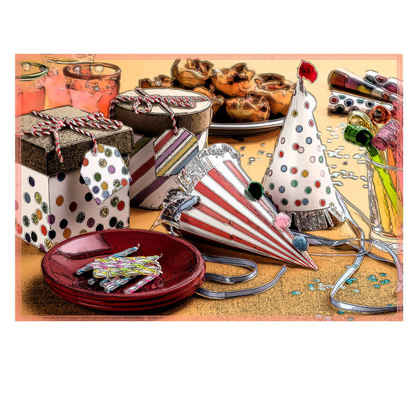 Leaf Designs Multicoloured Birthday Cheet Fabric Table Mat - Set of 2