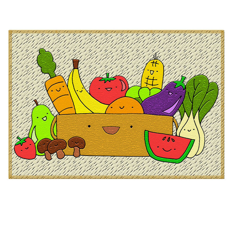 Leaf Designs Multicoloured Illustrated Fruits Fabric Table Mat - Set of 2