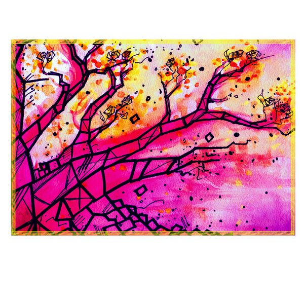Leaf Designs Multicoloured Tree Fabric Table Mat (B) - Set of 6