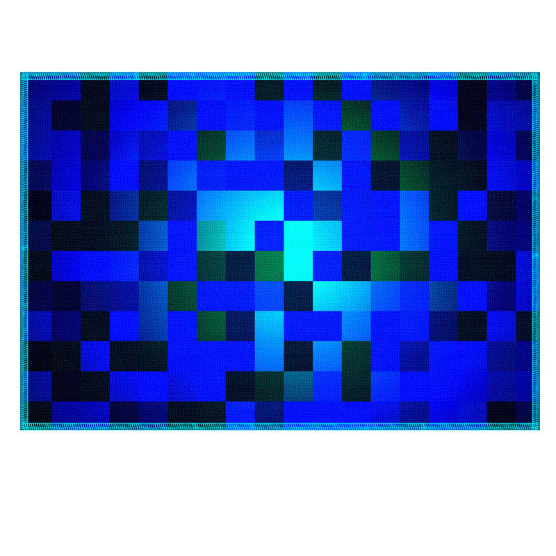 Leaf Designs Blue Checkered Fabric Table Mat (A) - Set of 6