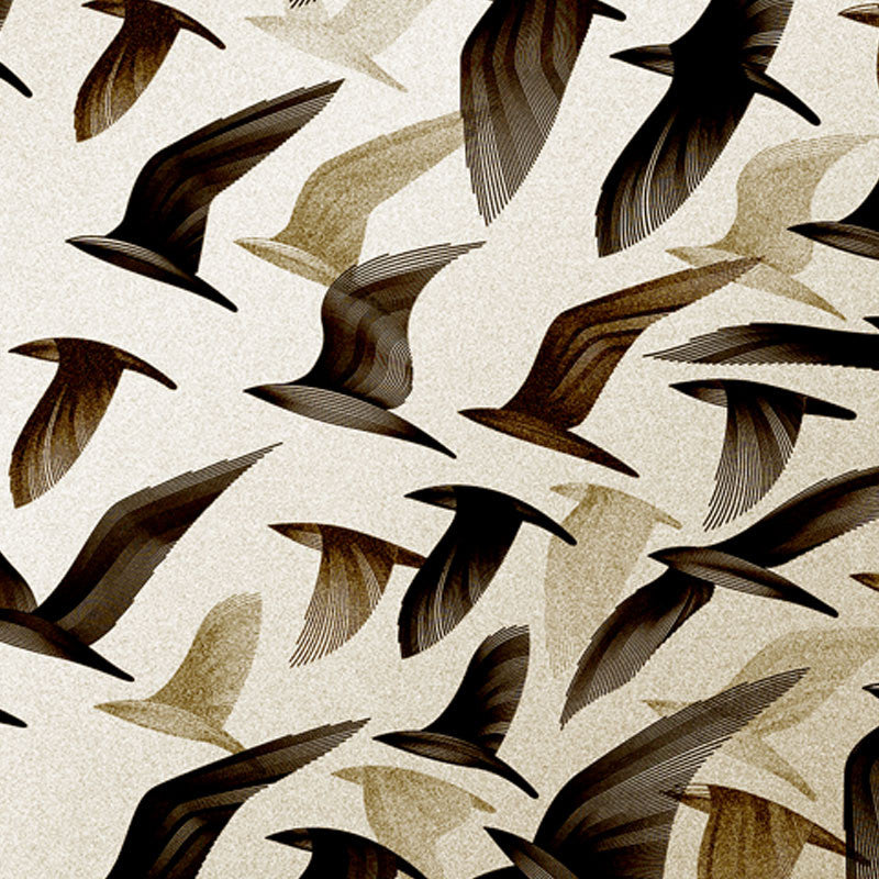 Leaf Designs Ivory Birds In Flight Fabric Table Mat - Set of 6