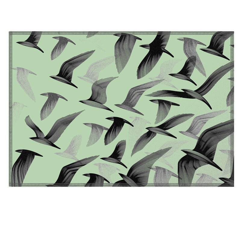 Leaf Designs Green Birds In Flight Fabric Table Mat - Set of 6