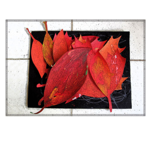 Leaf Designs Red Leaves Fabric Table Mat - Set of 6