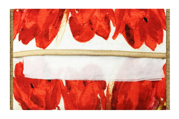 Leaf Designs Red Floral Tissue Cover
