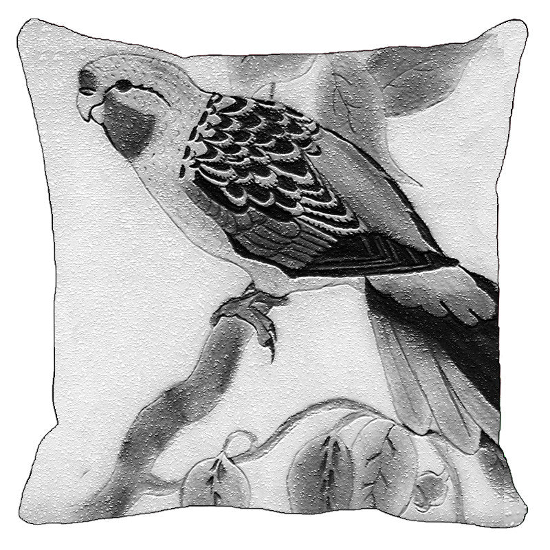 Black And White Parrot On Branch Cushion Cover