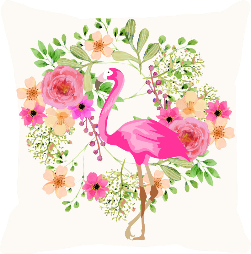 Leaf Designs Pink & Green Flamingo Cushion Cover