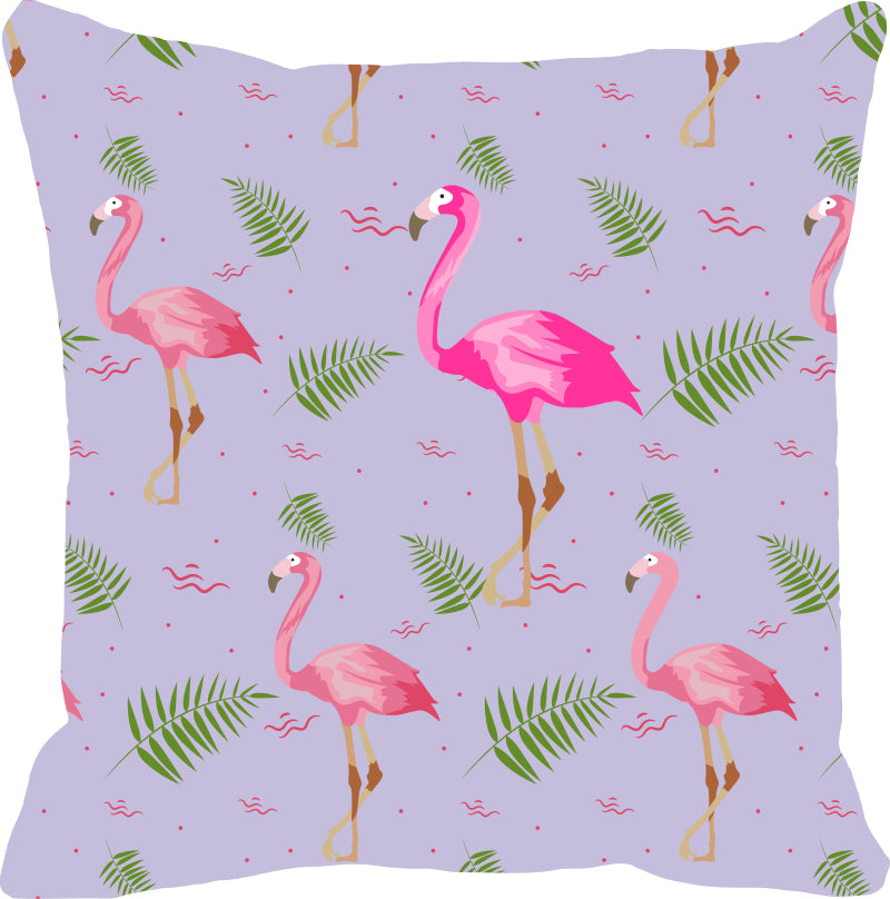 Leaf Designs Pink & Lilac Flamingo Cushion Cover