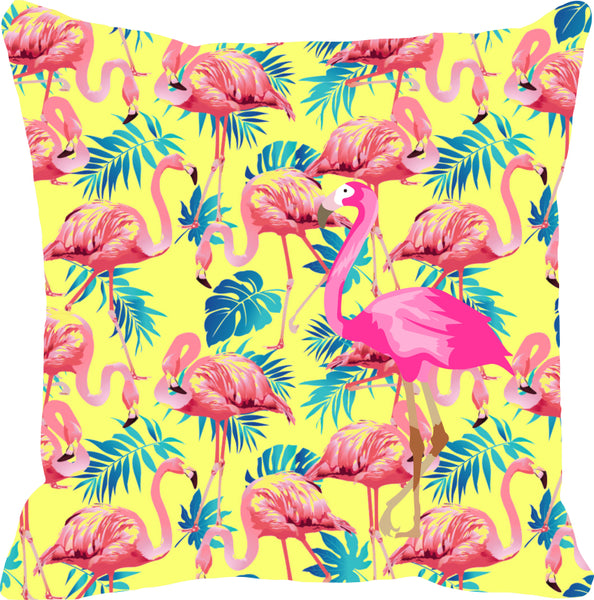Leaf Designs Pink & Yellow Flamingo Cushion Cover