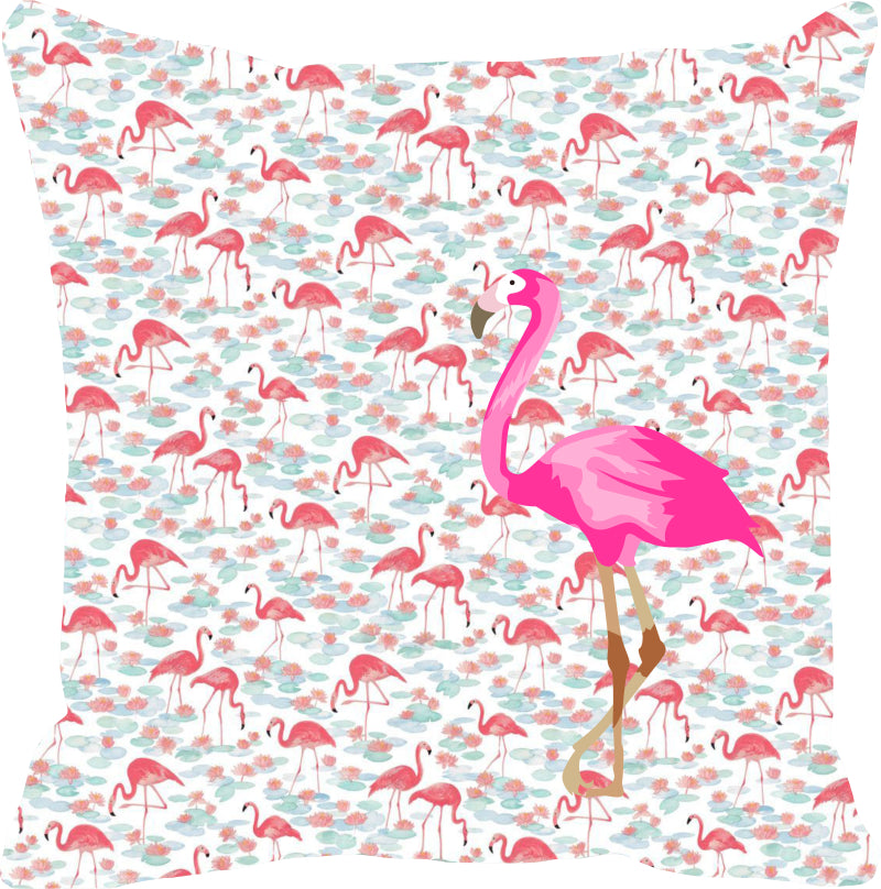 Leaf Designs Pink & Light Blue Flamingo Cushion Cover