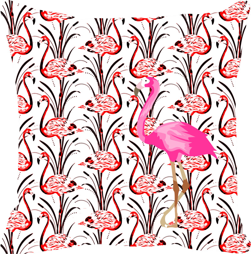 Leaf Designs Pink & Red Flamingo Cushion Cover