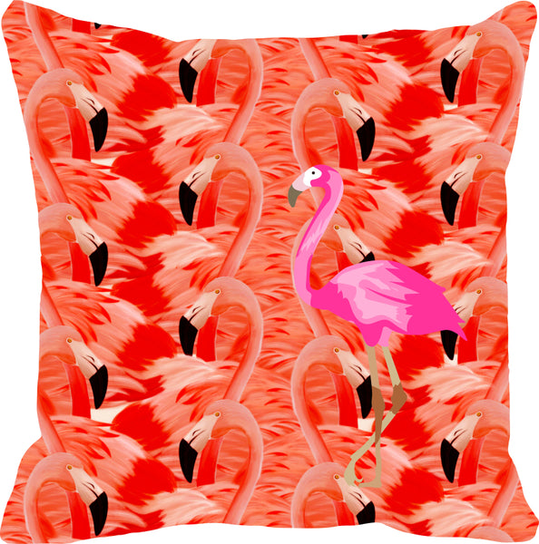 Leaf Designs Pink & Deep Red Flamingo Cushion Cover