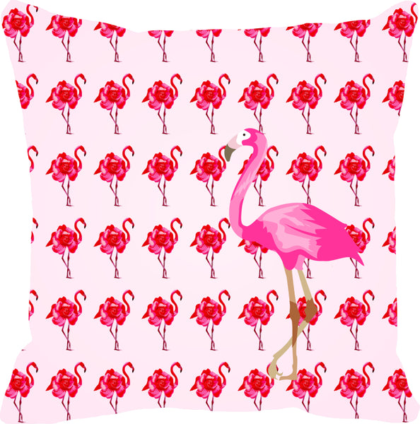 Leaf Designs Hot Pink Flamingo Cushion Cover