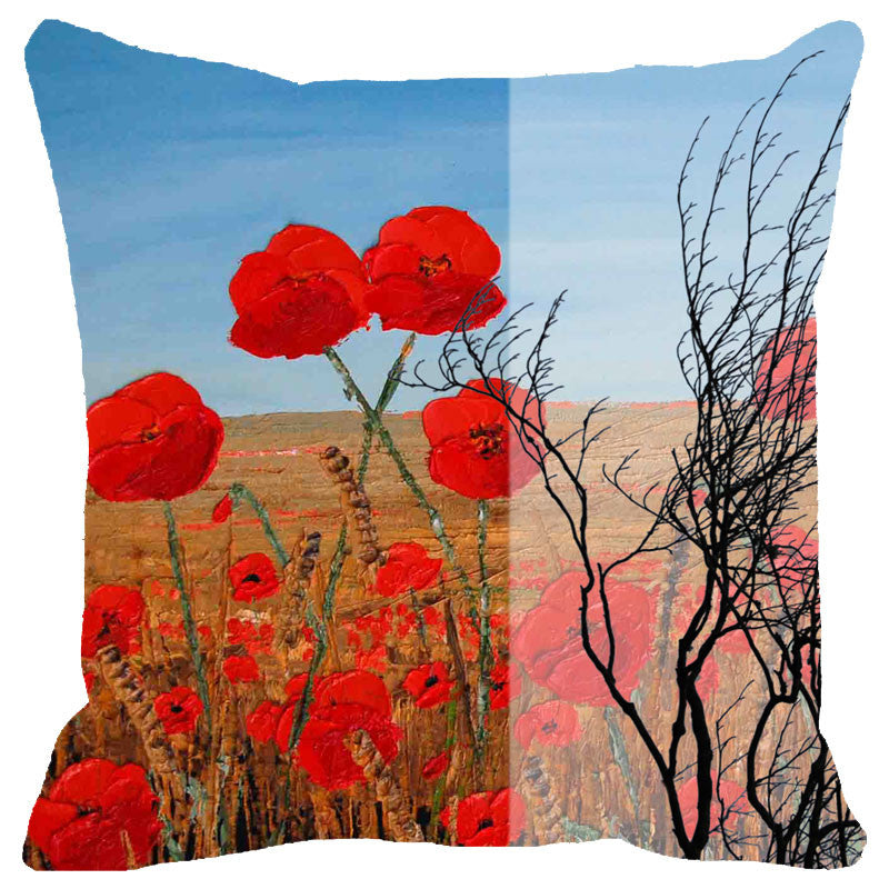 Leaf Designs Cloudy Red Floral Cushion Cover
