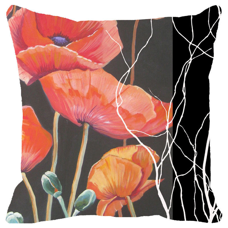 Leaf Designs Black And Red Floral Cushion Cover