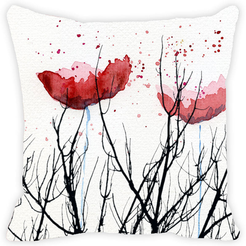 Leaf Designs Black Stems And Red Floral Cushion Cover