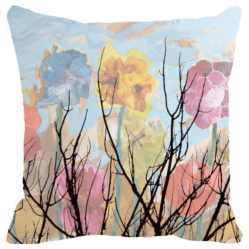 Leaf Designs Multicoloured Cloudy Floral Cushion Cover