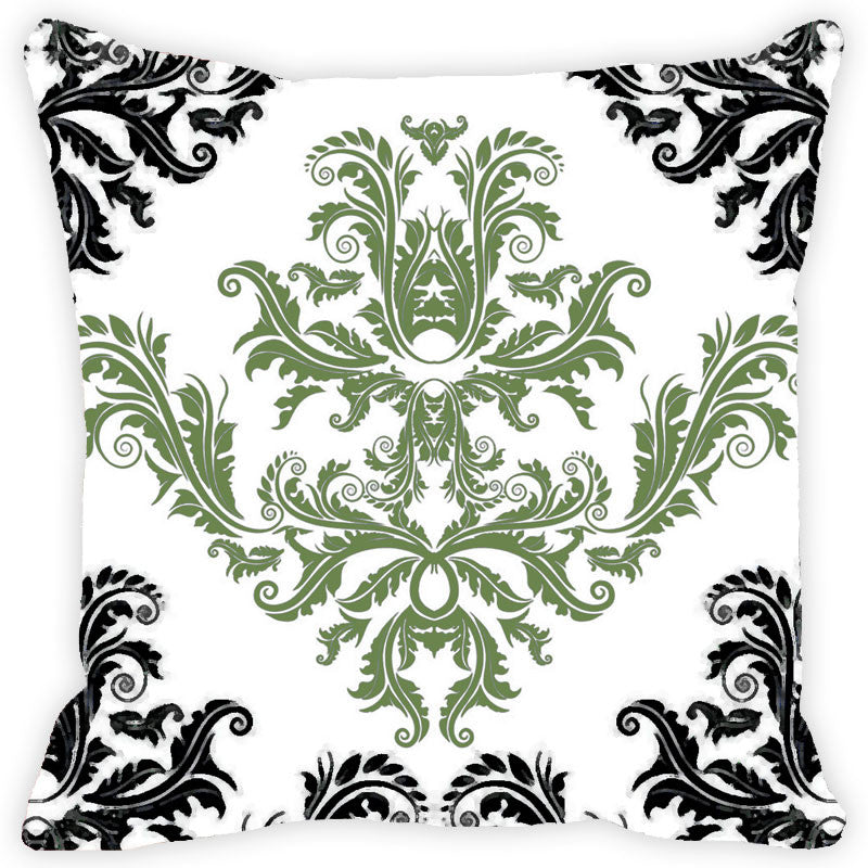 Leaf Designs Black And Green Floral Pattern Cushion Cover