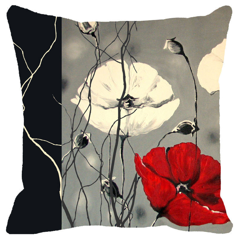 Leaf Designs Black Red And Grey Floral Cushion Cover