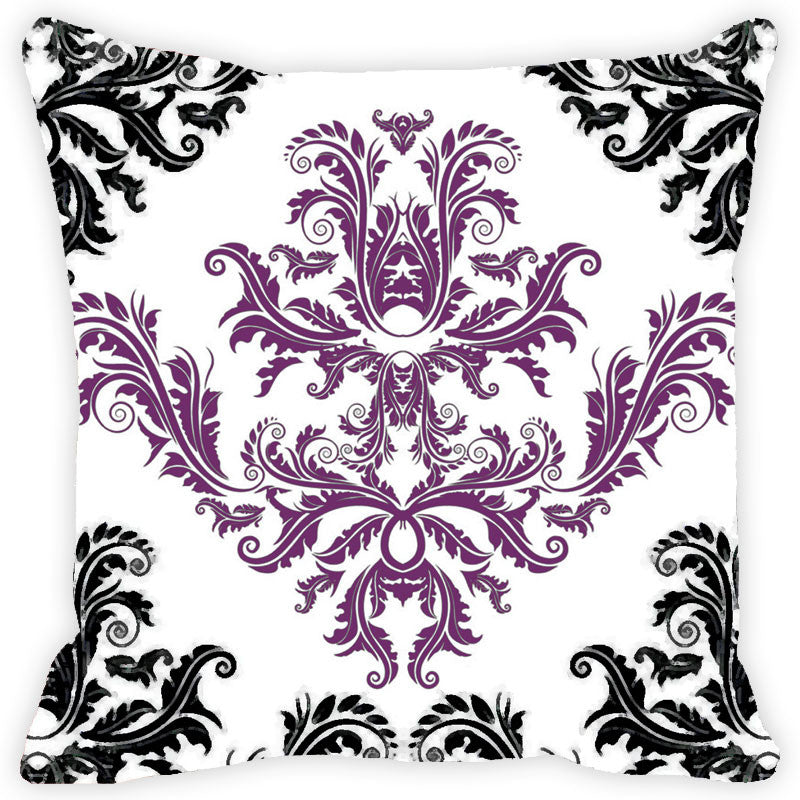 Leaf Designs Black And Purple Cushion Cover