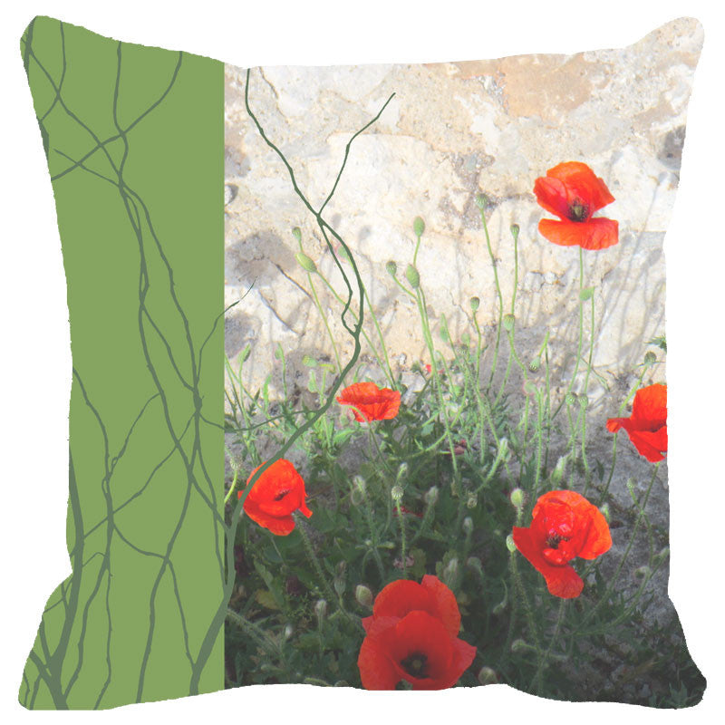 Leaf Designs Green Band Floral Cushion Cover