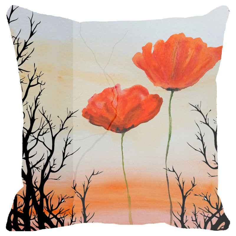 Leaf Designs Sunset And Red Floral Cushion Cover